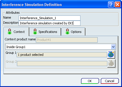 Interference Simulation Definition Dialog Box